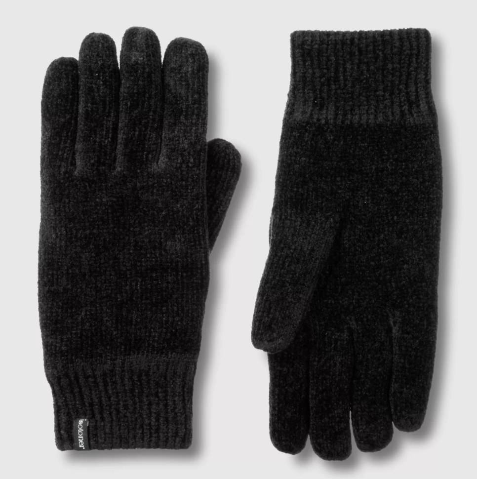 The gloves in the color black