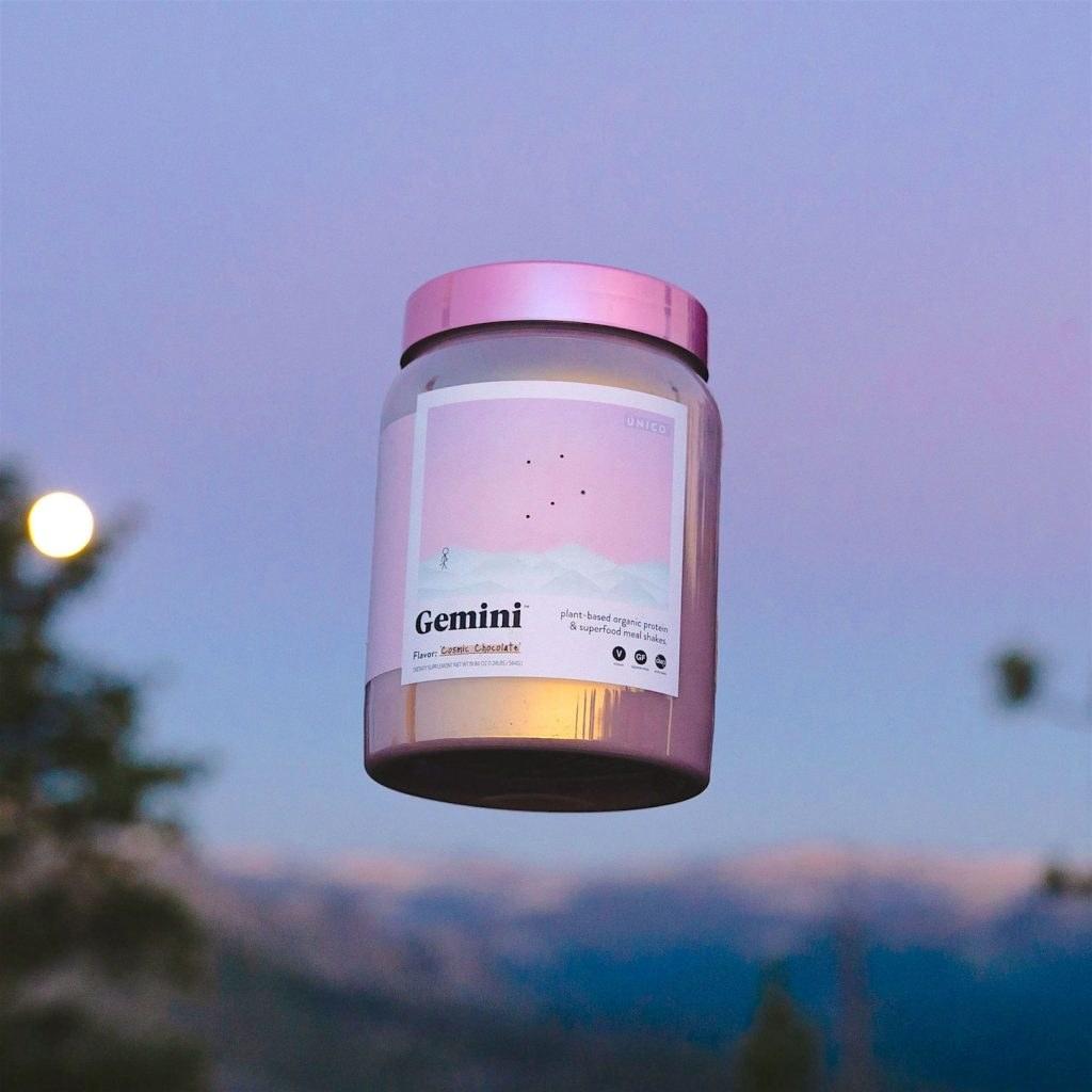 GEMINI protein powder bottle