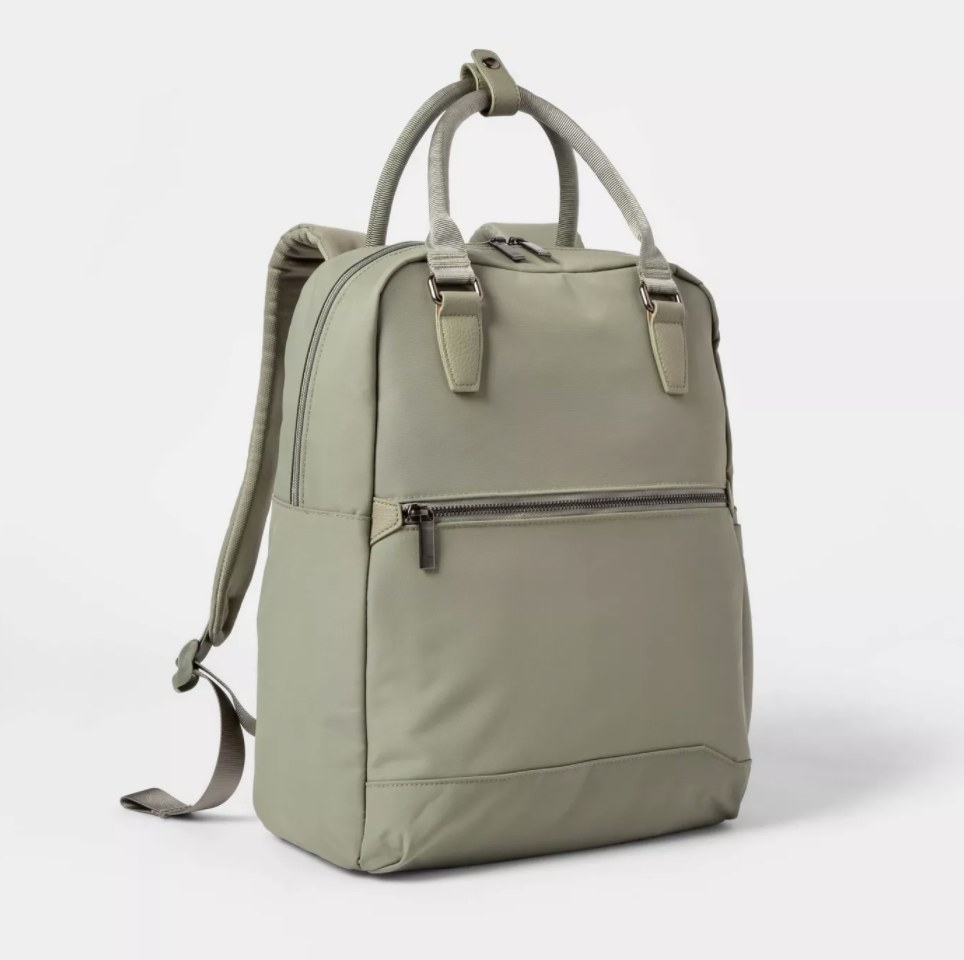 The backpack in the color olive