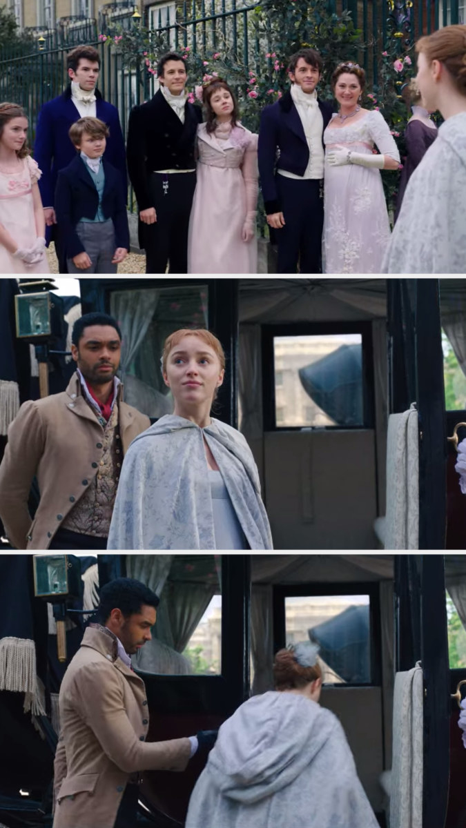 Daphne looks at her family, looks at her house, and gets in the carriage