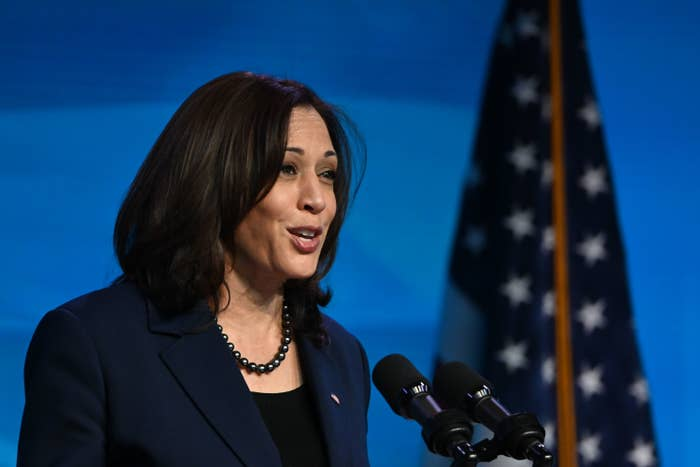 US Vice President-elect Kamala Harris speaks at an event