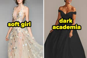 """A sheer deep V gown covered in sequin stars with the text """"soft girl"""" and a ballgown with a cinched waist and cap sleeves with the text """"dark academia"""""""