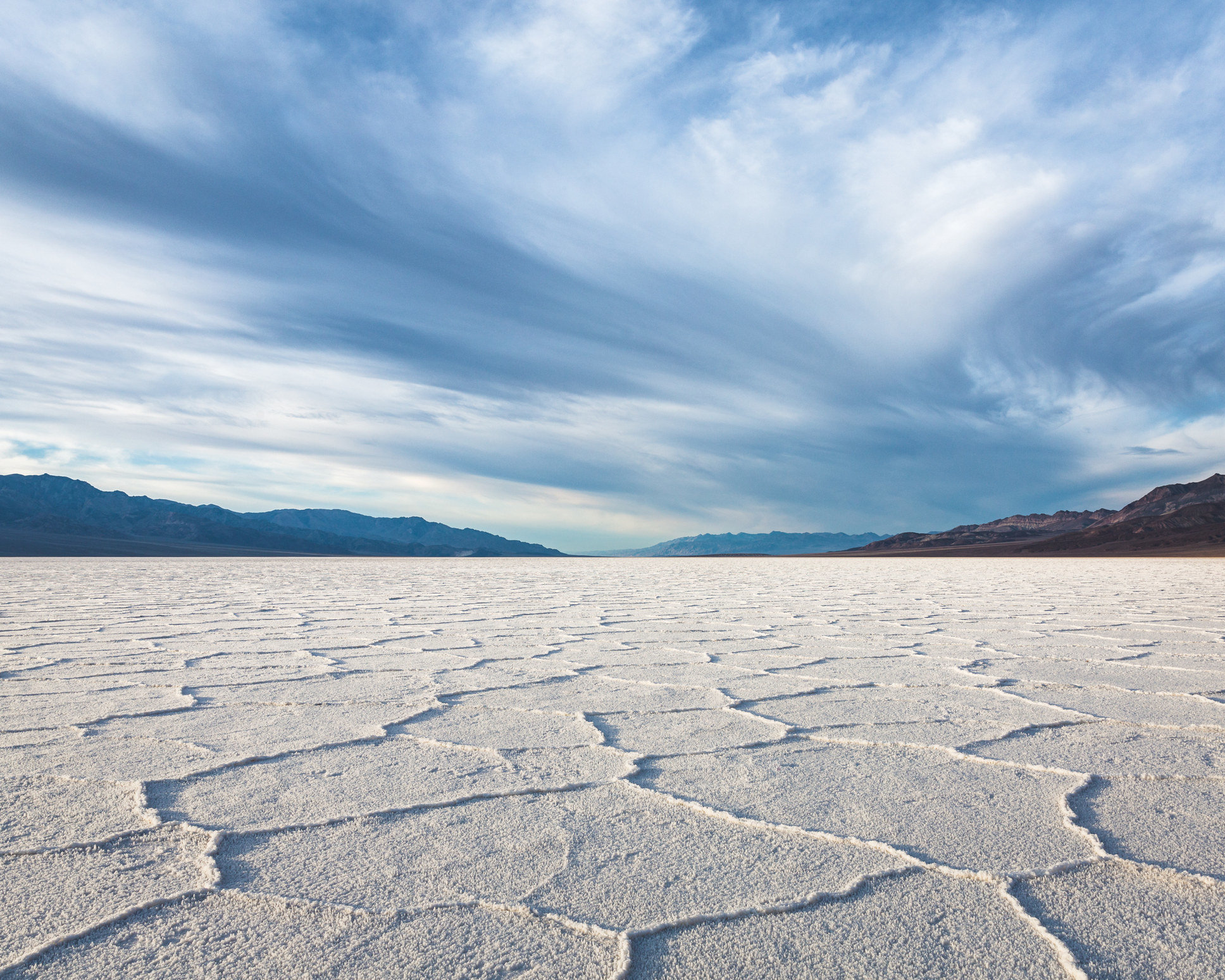 a vast white salt flat that looks like its from another planet