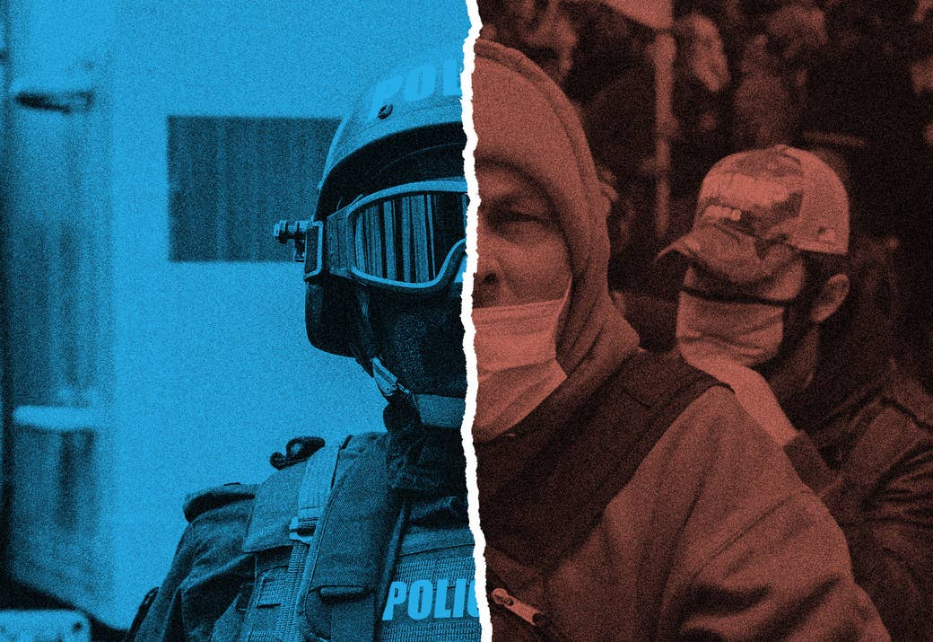 A split image of a police officer in riot gear and a rioter from the US Capitol building