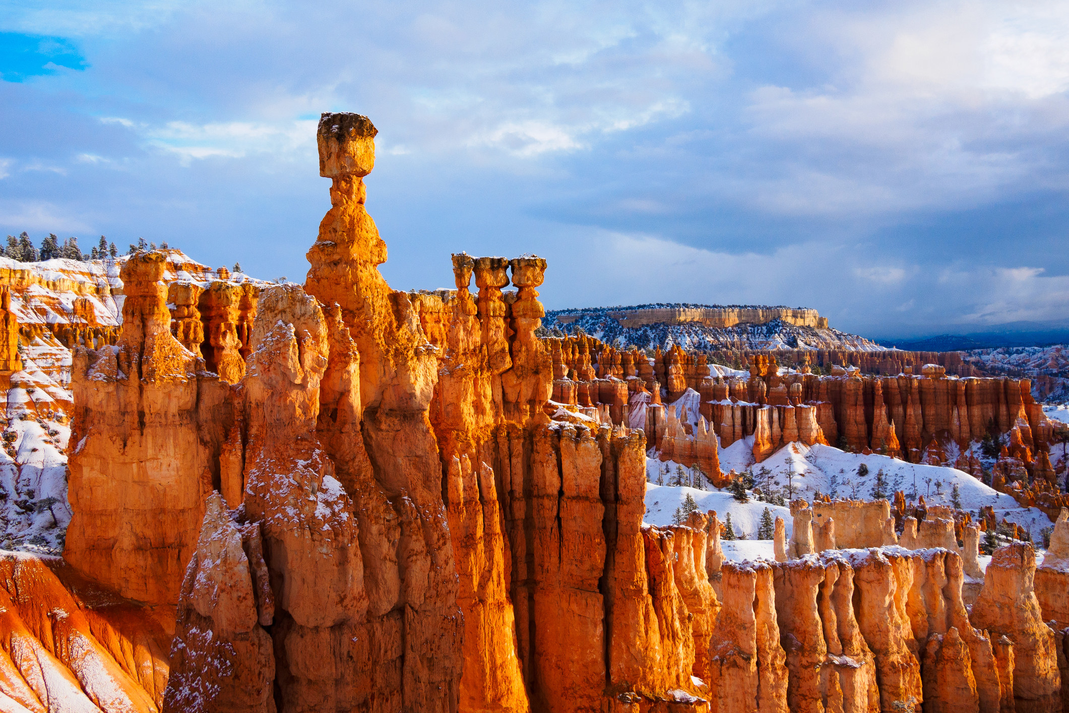 Red spires covered in snow