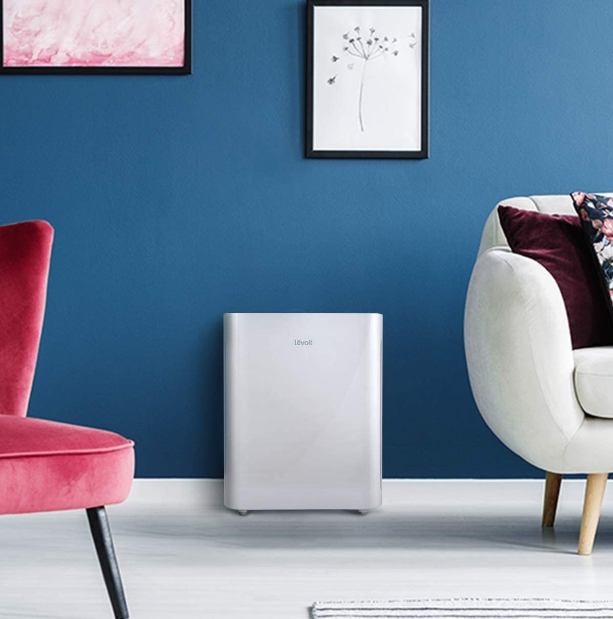 An air purifier in a bright and stylish room
