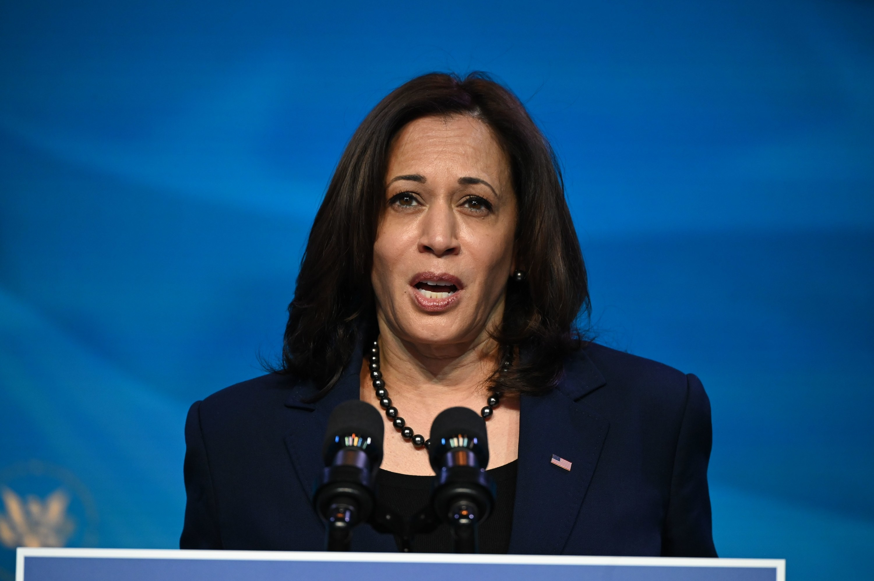 US Vice President-elect Kamala Harris speaks in Wilmington, Delaware
