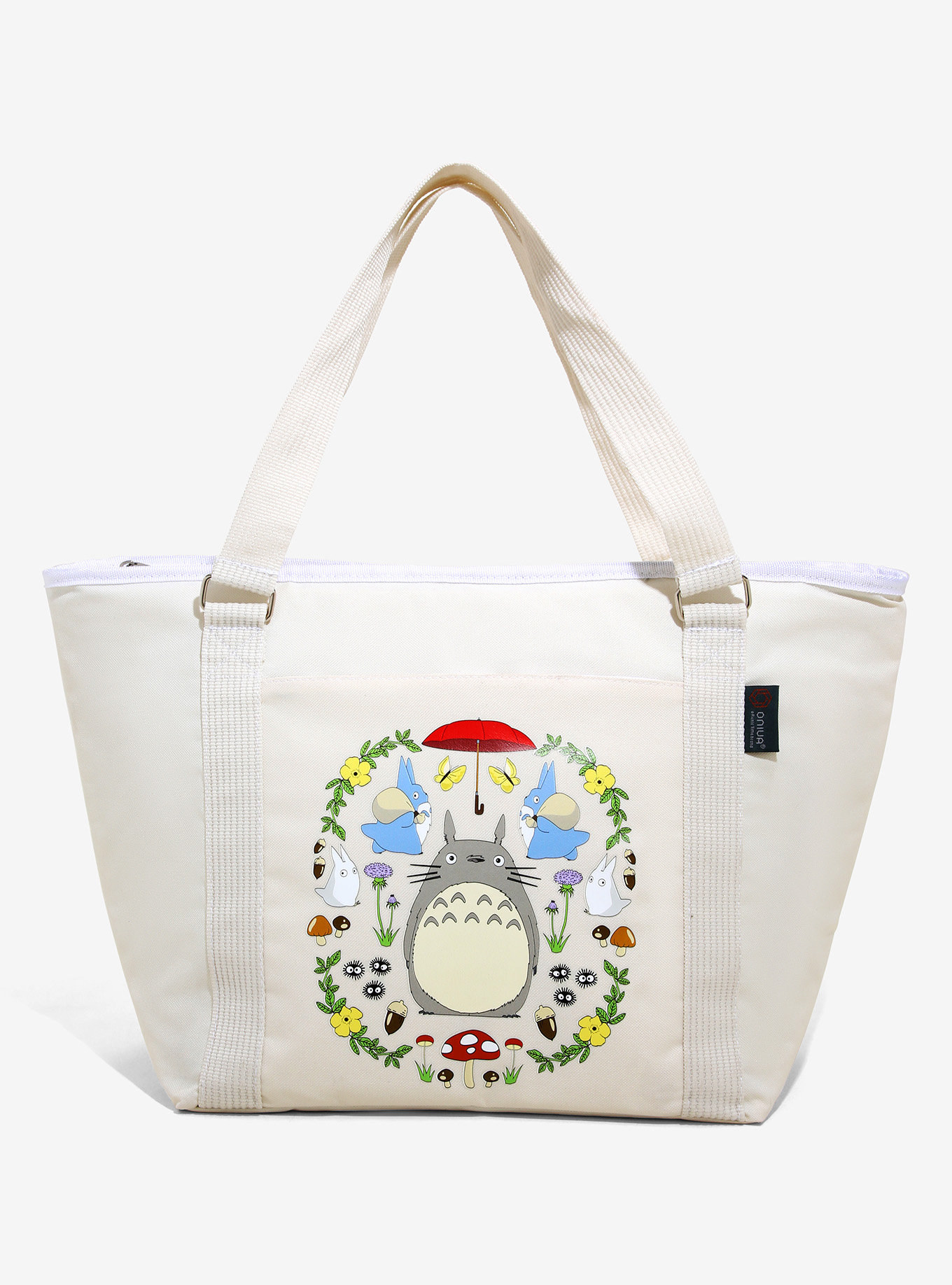 a cream-colored tote with Totoro on it