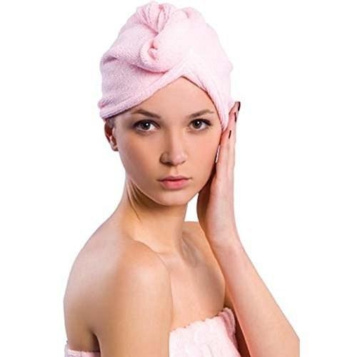 A woman wearing a microfiber hair wrap