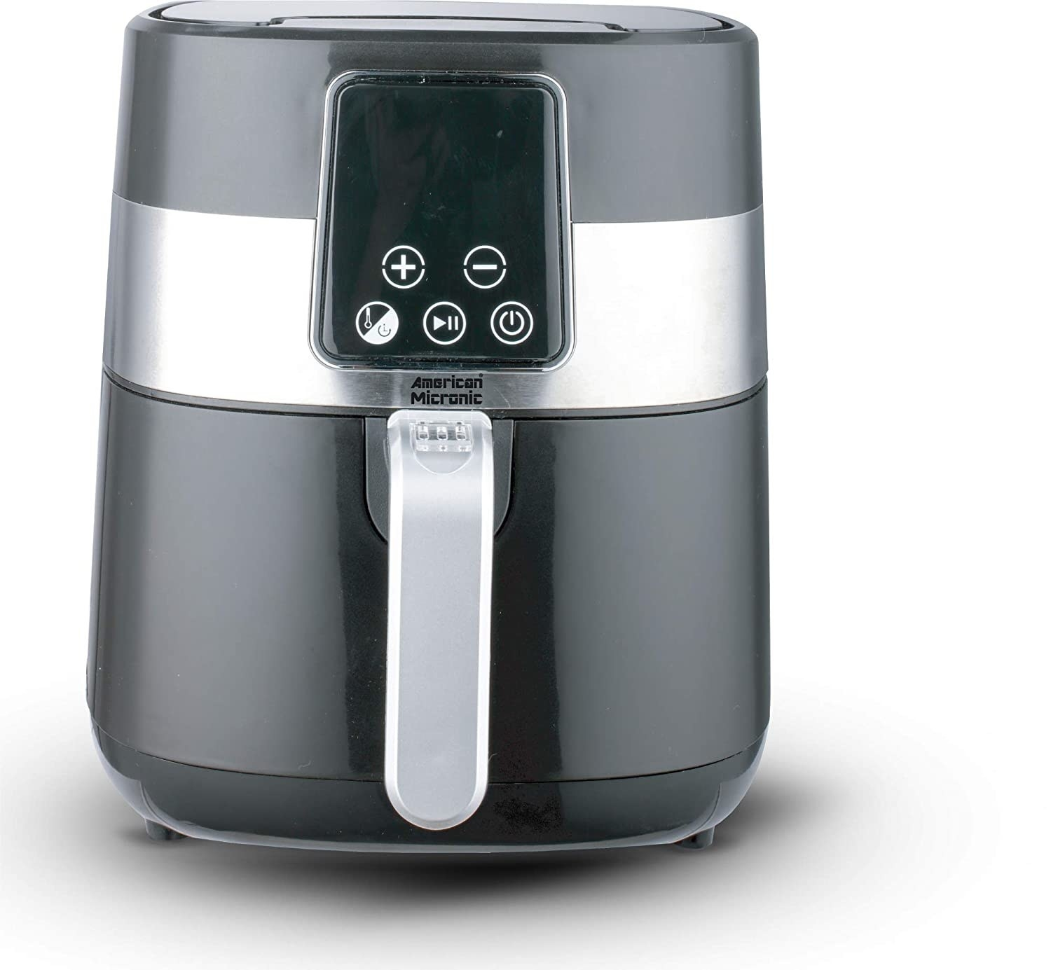 A silver and white air fryer