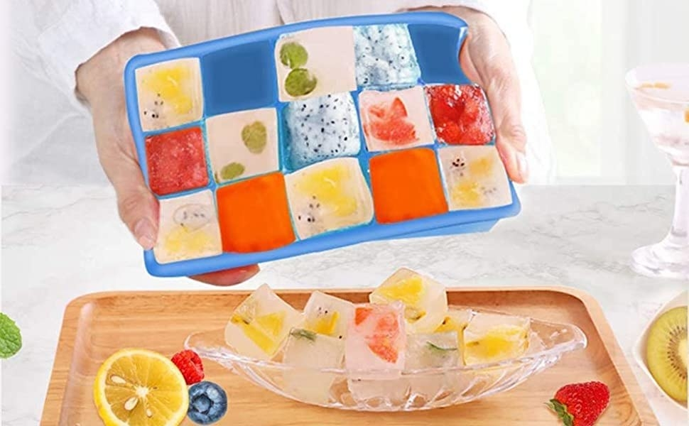 A silicone ice cube tray popping out ice cubes
