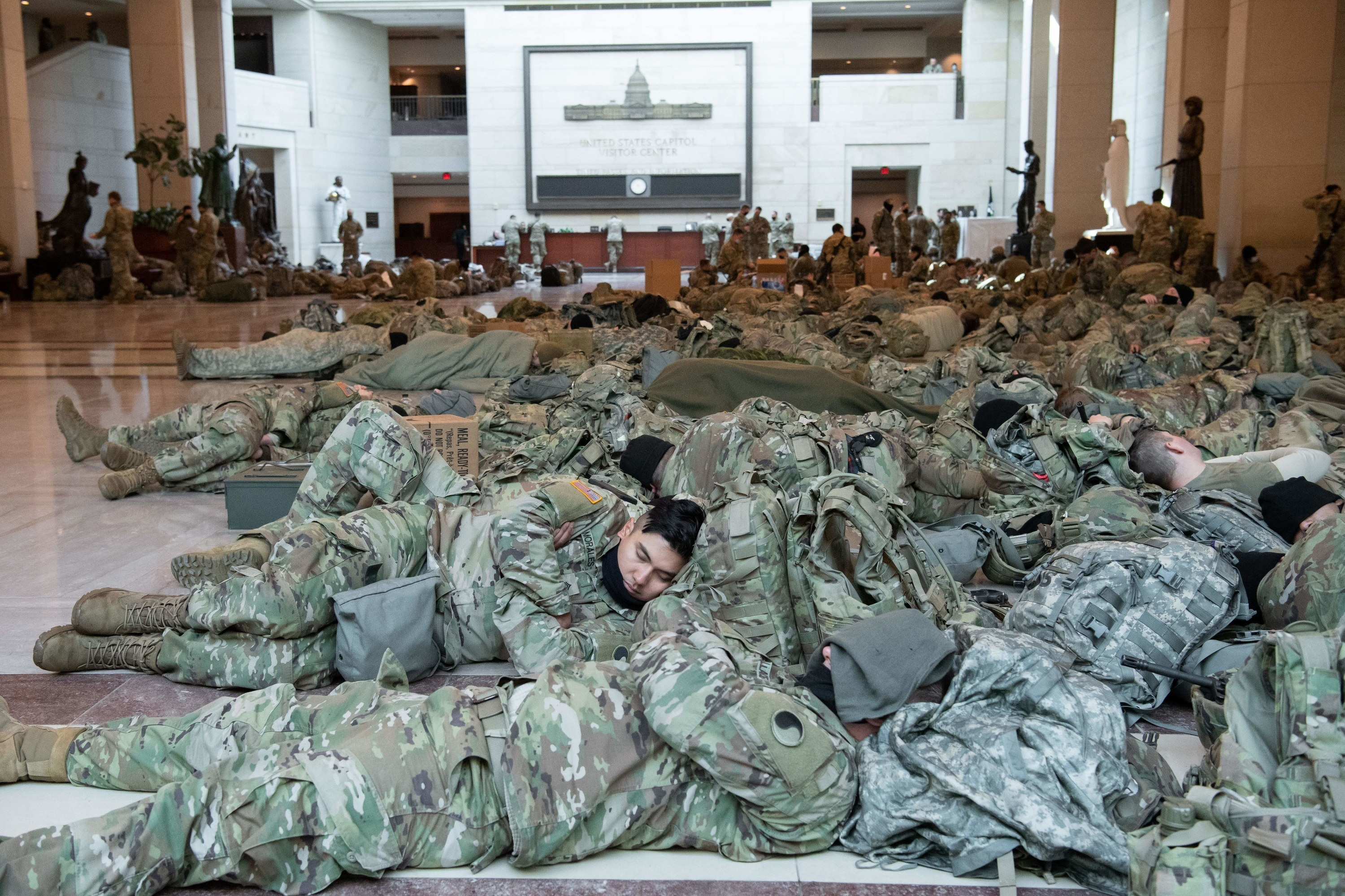 The Capitol is filled with troops sleeping on the floor