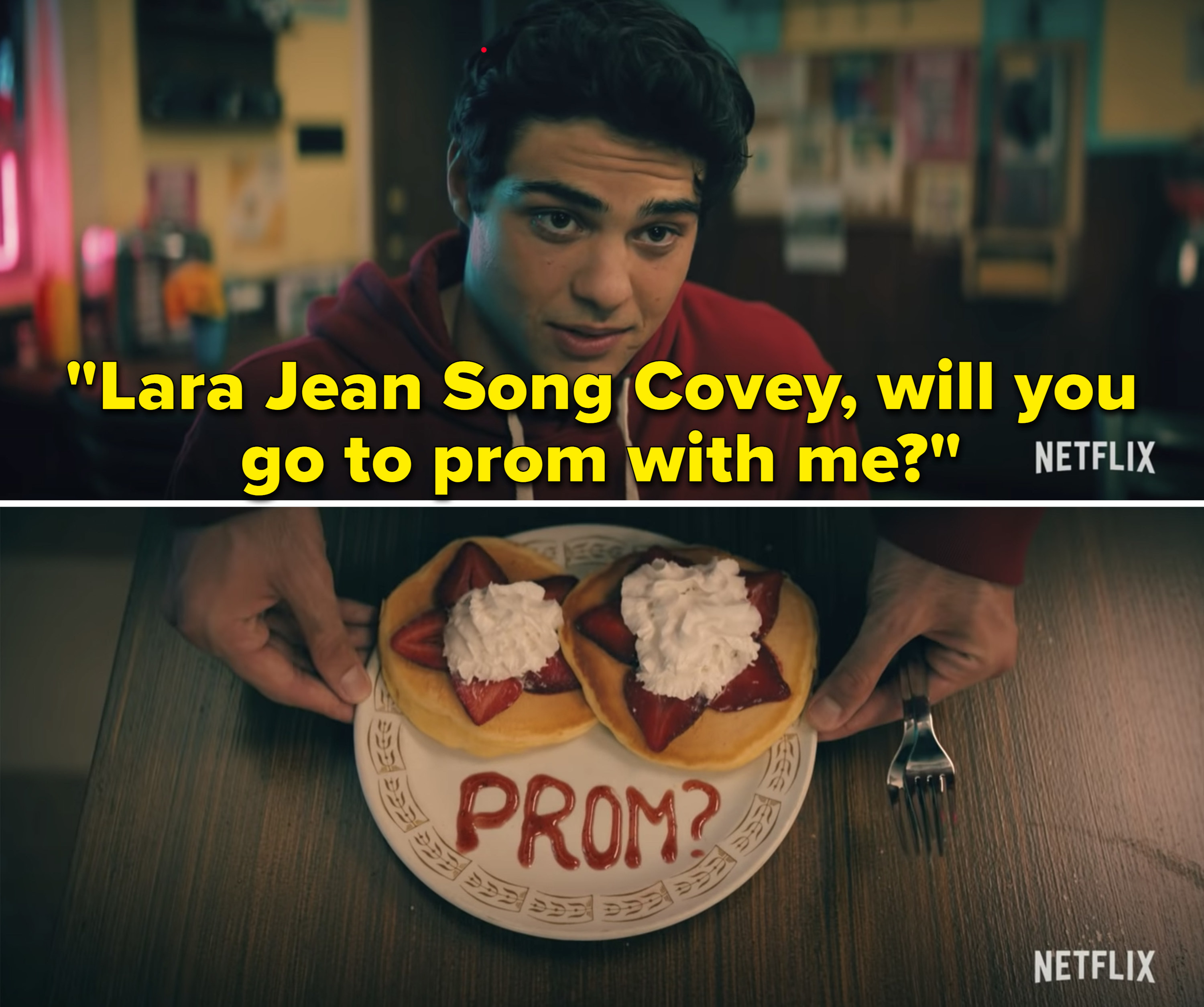 "Peter saying, ""Lara Jean Song Covey, will you go to prom with me?"""