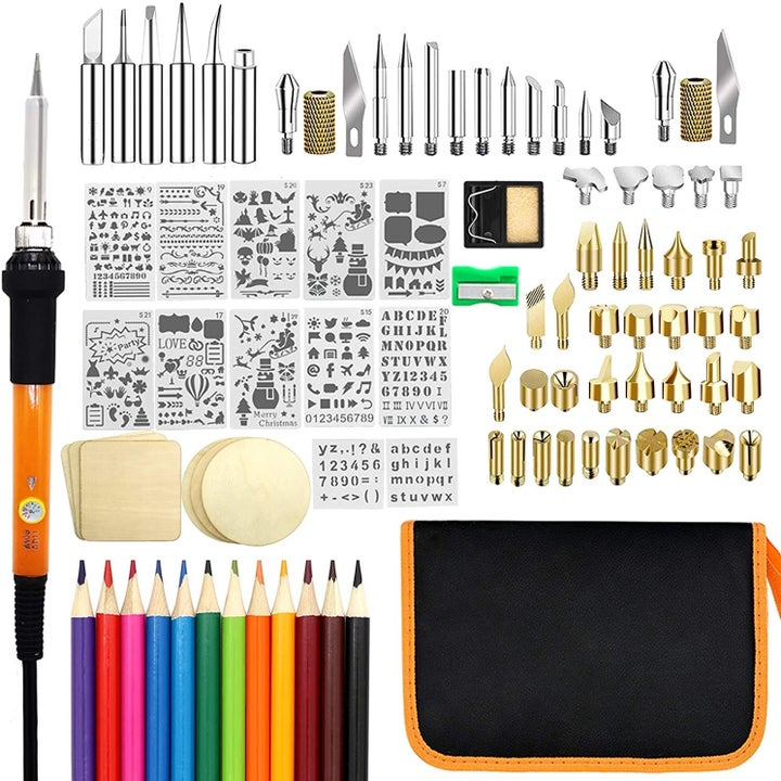 Flat lay of all tools inside kit with small carrying bag