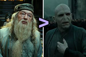 "Dumbledore on the left and voldemort on the right with a ""greater than"" sign pointing toward dumbledore"