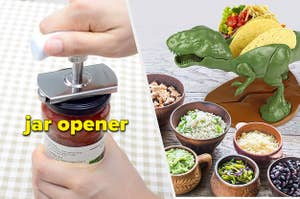 jar opener and dino taco holder