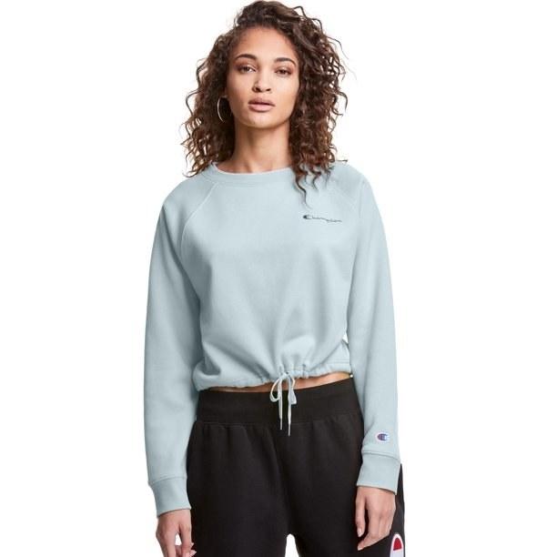 Model in fleece cropped crewneck sweatshirt