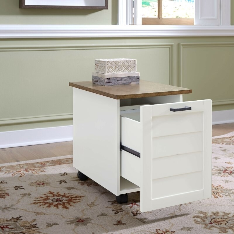 nightstand with wheels and filing cabinet open
