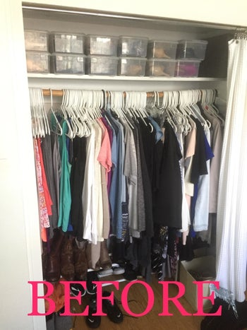 Reviewer's closet packed with clothes on white plastic hangers