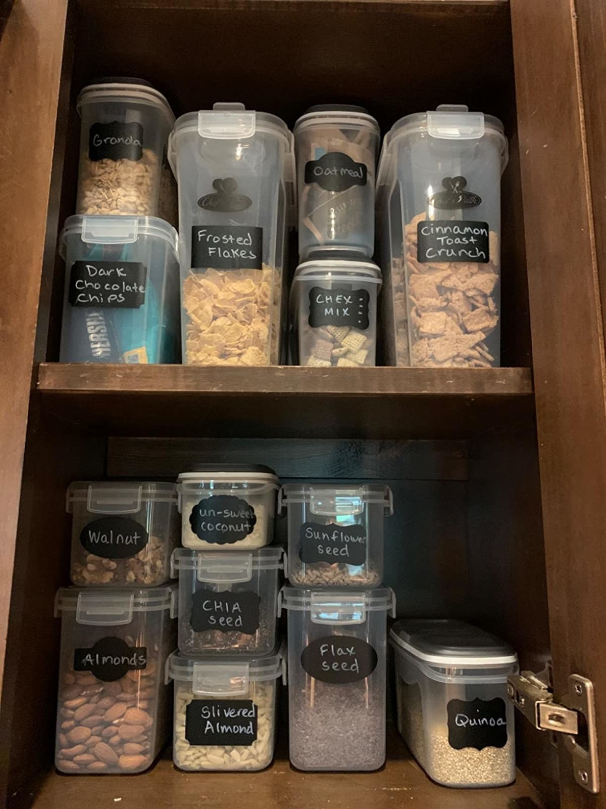 Amazon reviewer photo of cabinet filled with airtight storage containers