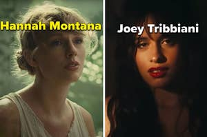 """Taylor Swift is on the left labeled, """"Hannah Montana"""" with Camila Cabello on the right labeled, """"Joey Trinniani"""""""
