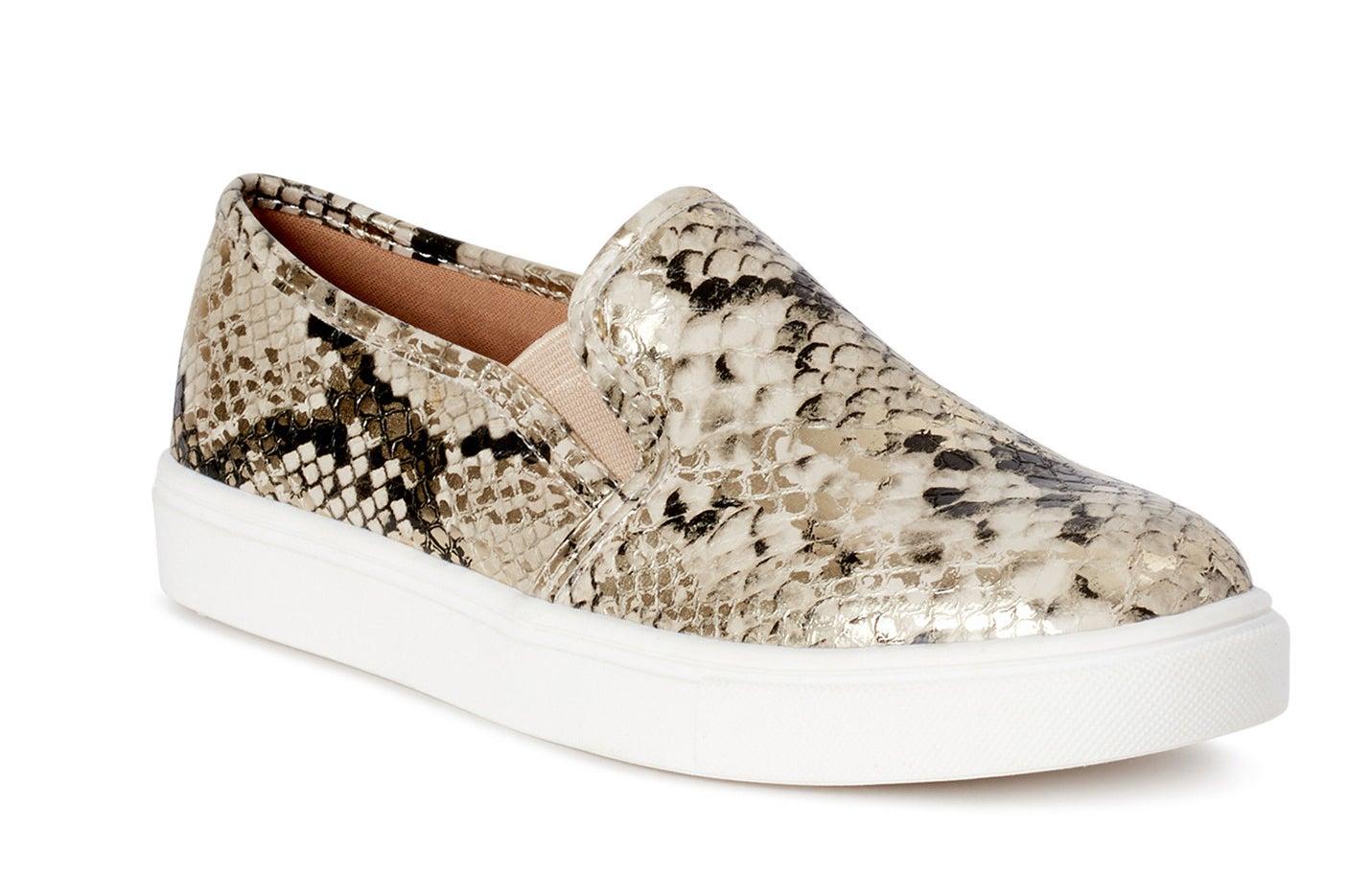 Snakeskin slip on sneakers