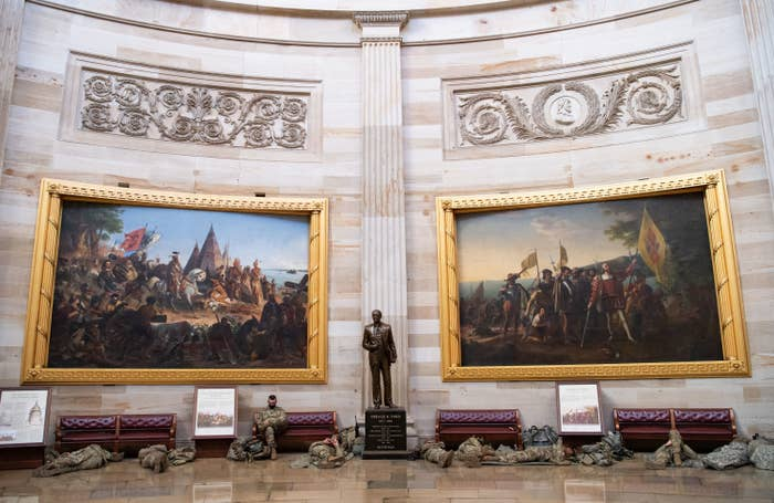National Guard troops are sleeping on the floor in the Capitol