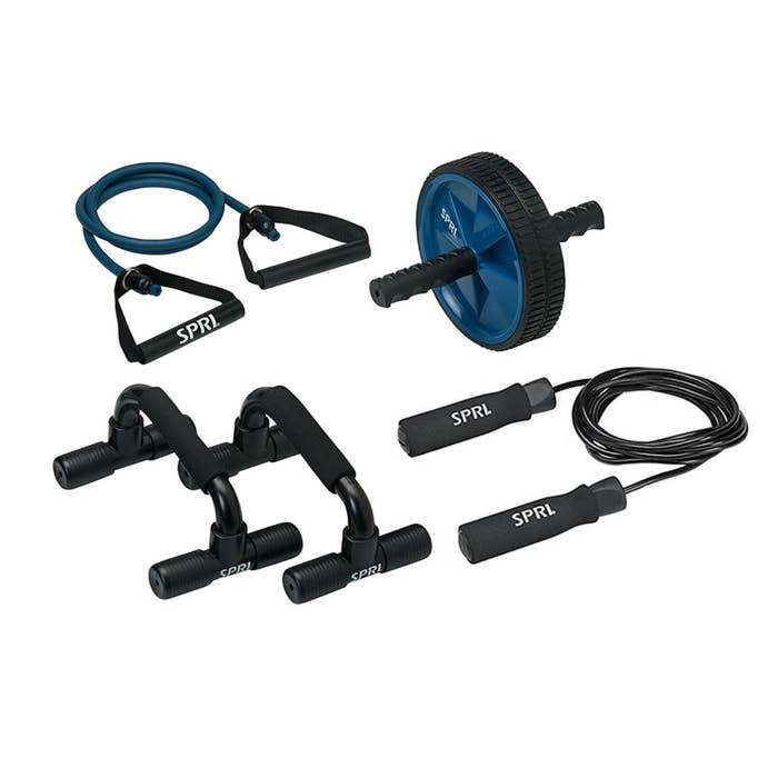 The at-home gym kit in blue and black