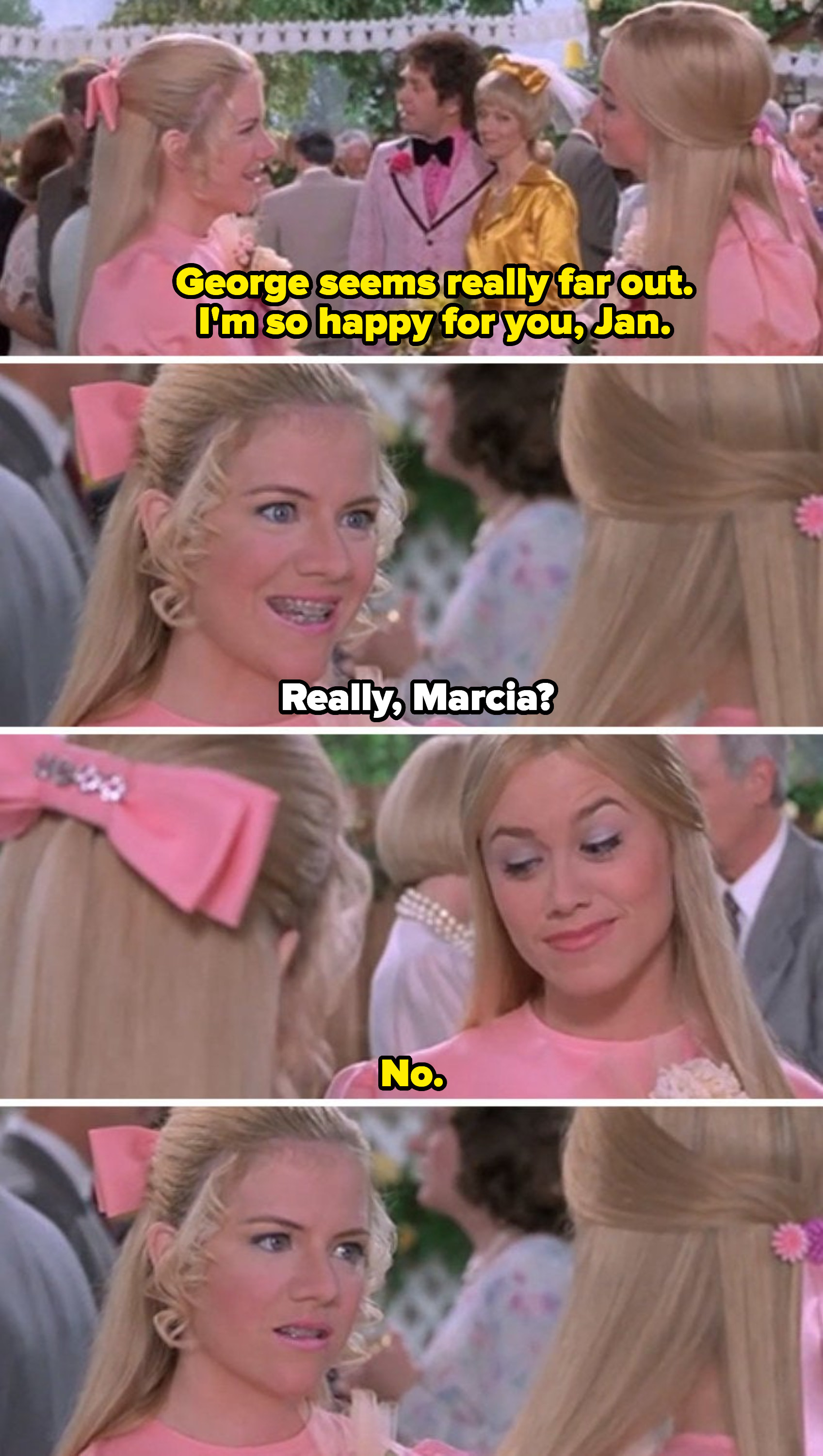 """Marcia insulting Jan at a wedding at the end of """"A Very Brady Sequel"""""""