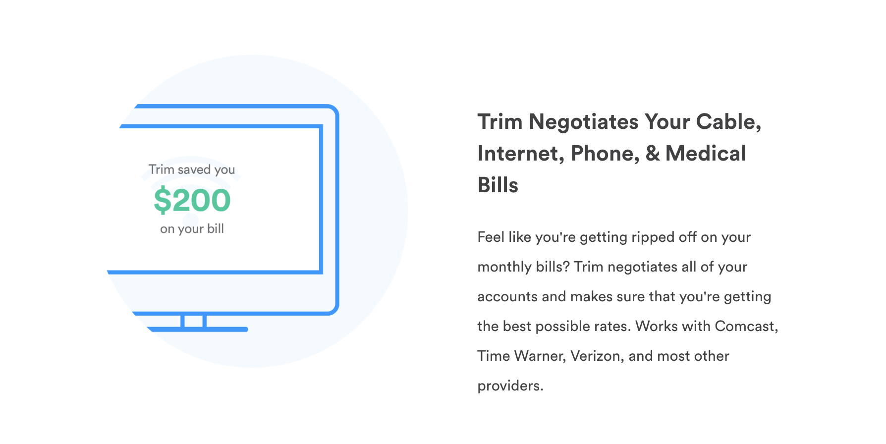 Computer illustration showing that Trim has helped save $200 on a bill