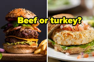 """A double cheeseburger is on the left with a turkey burger on the right labeled, """"Beef or turkey?"""""""