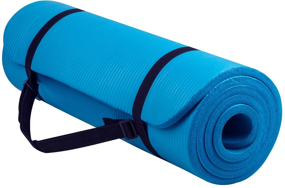 The high-density foam exercise mat in blue