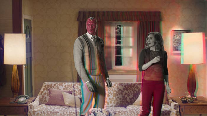 Wanda and Vision in a living room