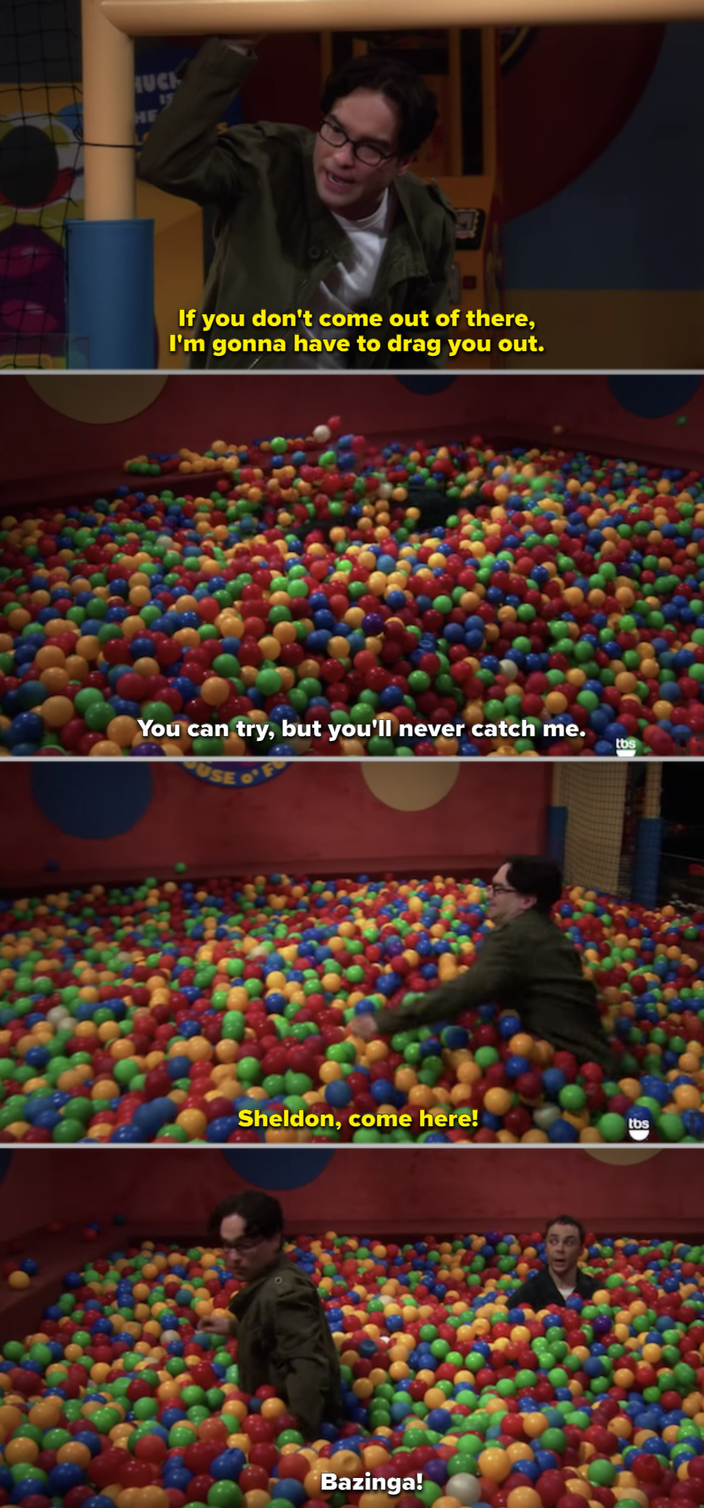 Sheldon hiding in the ball pit