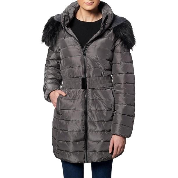 Model in faux fur puffer coat