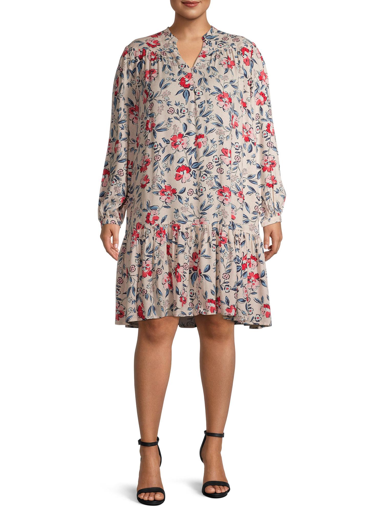 Model in floral printed dress