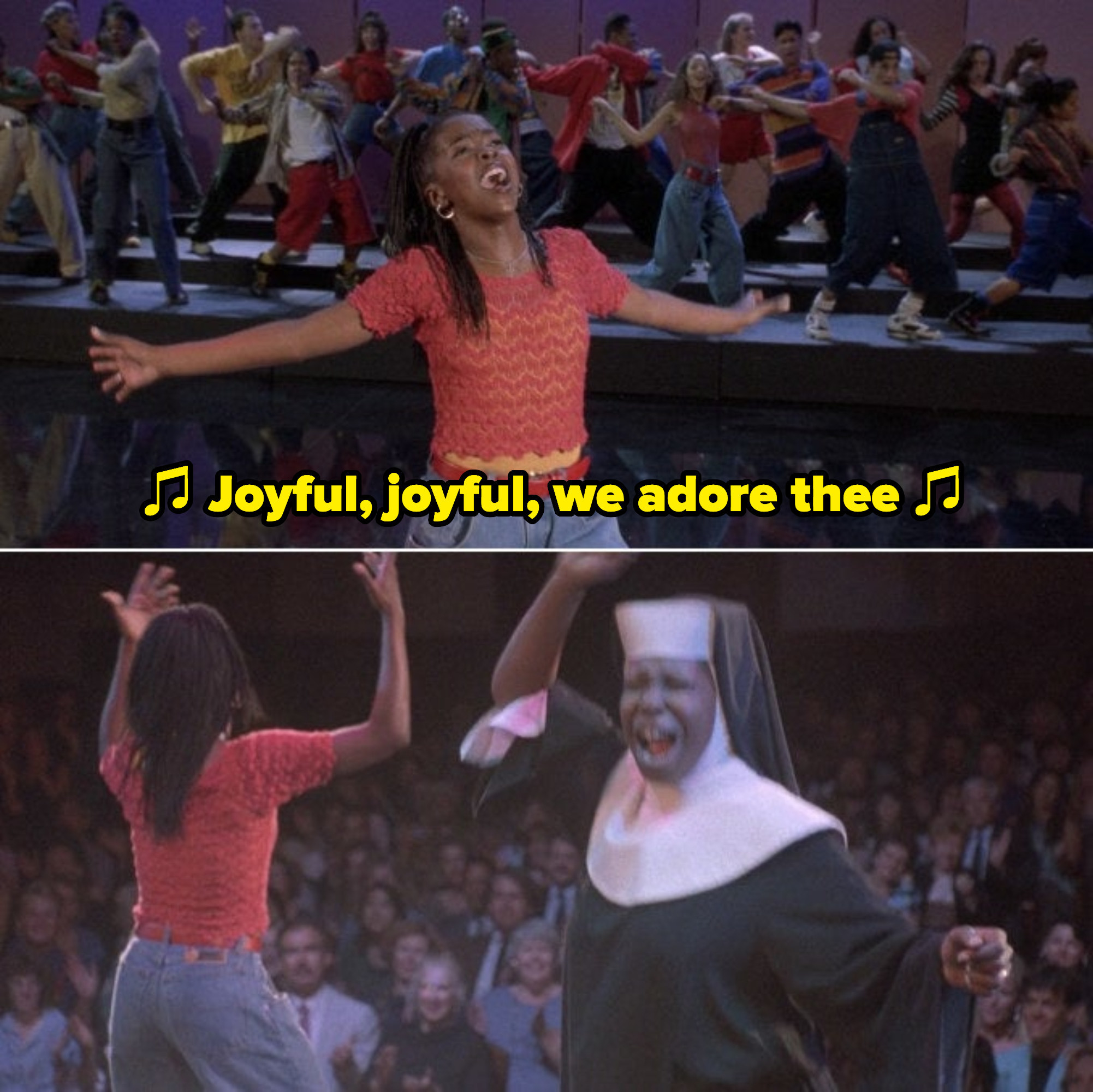 """Lauryn Hill and the rest of the students performing """"Joyful, Joyful"""" at the end of the movie"""