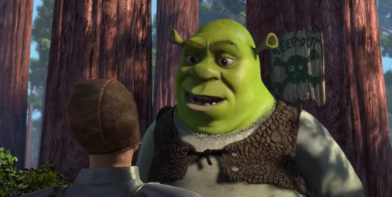 Screen shot of Shrek talking to a solider