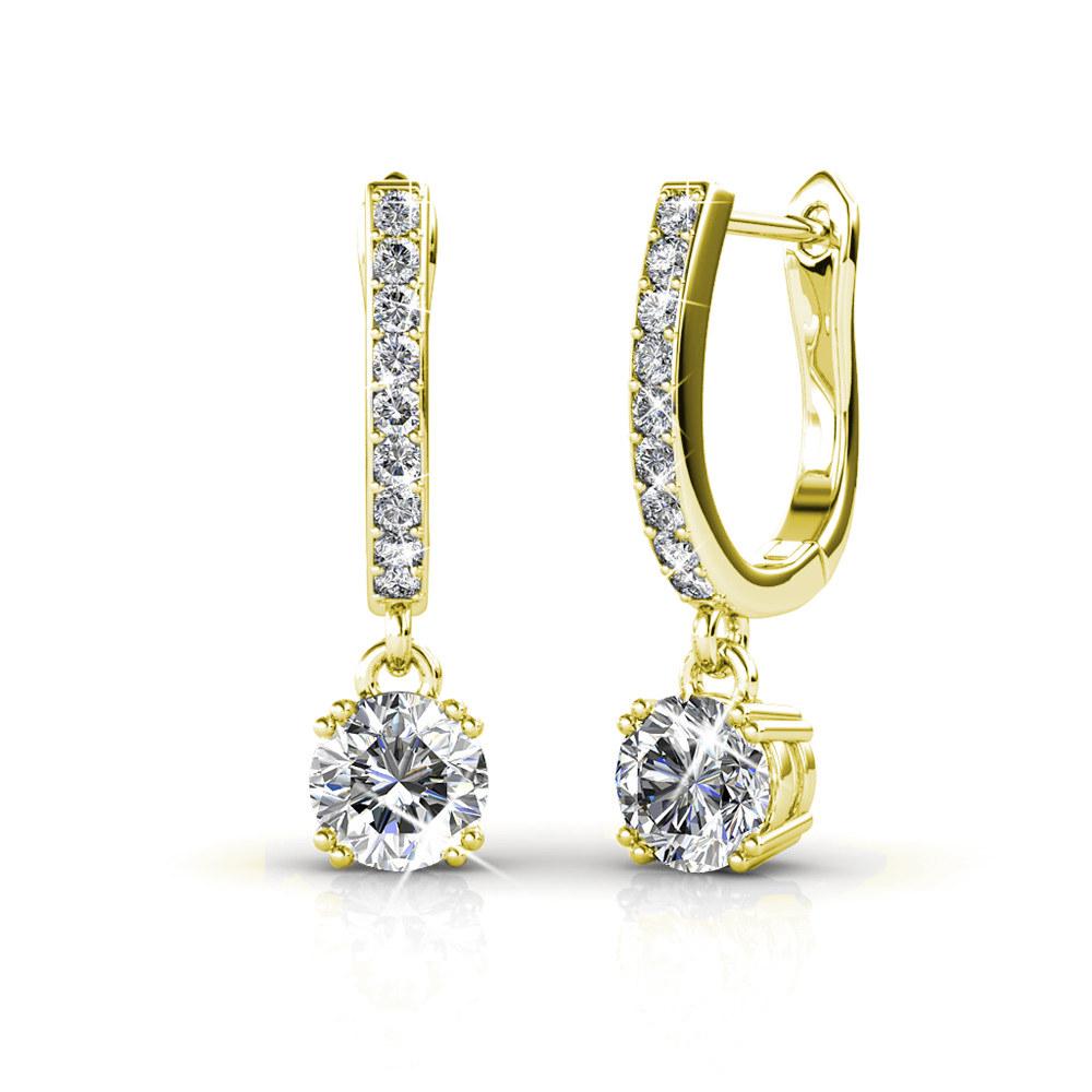 18K white gold dangling earrings