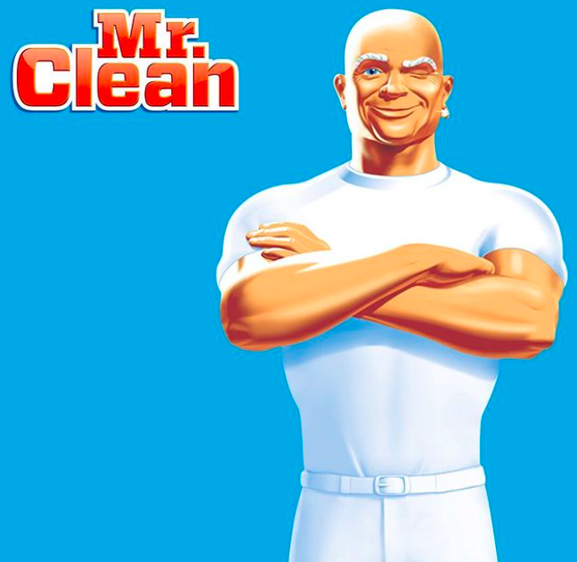 Mr. Clean winking with his arms crossed