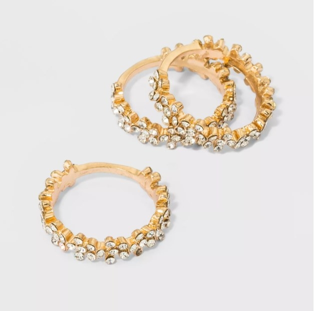 The gold and crystal stacked rings