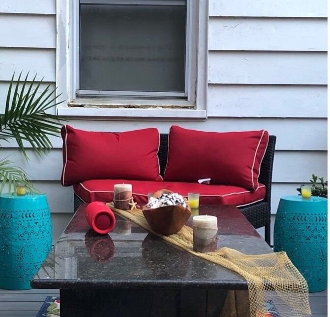 Review photo of the teal metal side table