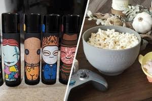 horror movie lip balm, a bowl of popcorn
