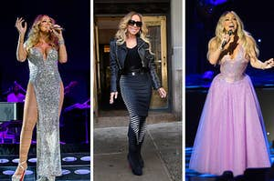 Side-by-side images of Mariah Carey in a sparkly, slitted dress; Mariah in a black and white ensemble with a leather jacket; and Mariah in a pretty pink sparkle dress
