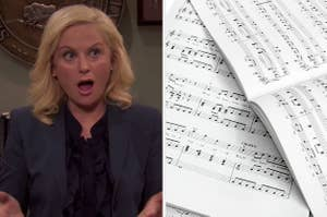 Woman gasping and looking towards a photo of sheet music