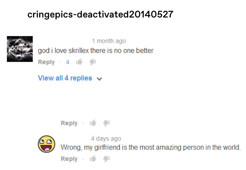 """someone comments """"god I love skrillex there is no one better"""" on YouTube, and another replies """"Wrong, my girlfriend is the most amazing person in the world"""""""