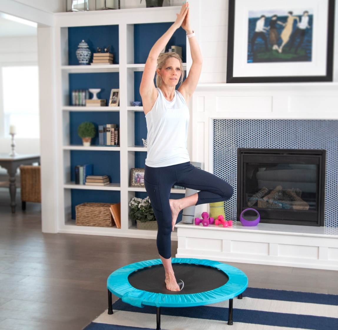 The fitness trampoline in teal