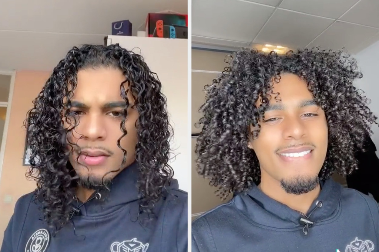 This TikTok user shows off wet and loose curls vs dry and defined curls