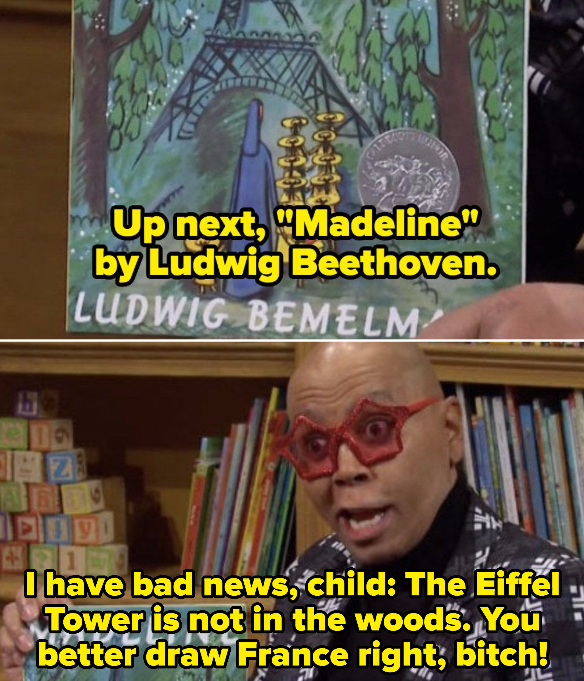 """RuPaul misreading children's books to kids in the """"Library"""" sketch"""