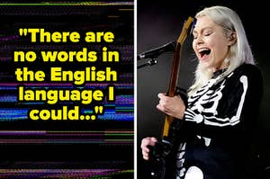 """Phoebe Bridgers with the lyrics """"There are no words in the English language I could..."""""""